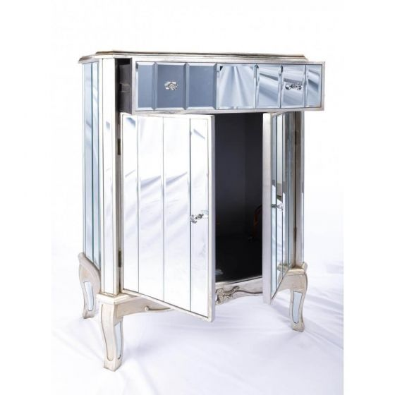 Antonia Shabby Champagne Silver Mirrored Cabinet