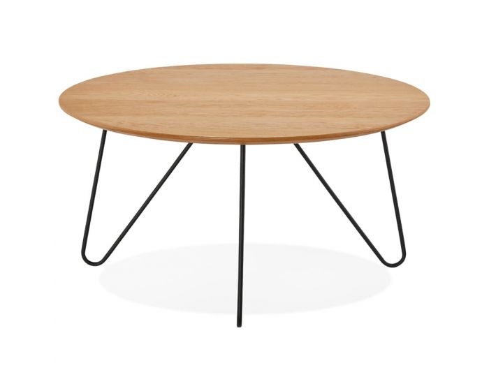 Arnfast Natural Wood and Black Coffee Table