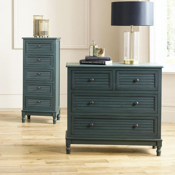 Ashwell Teal Pine 4 Drawer Chest