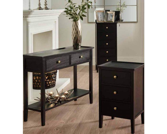 Atlantic Satin Black Pine Wood 3 Drawer Bedside Chest