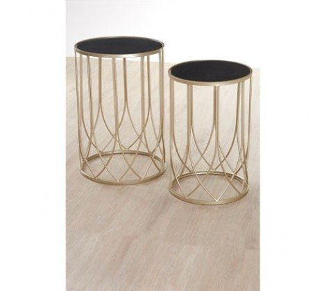 Avantis Gold and Black Glass Metal Tables