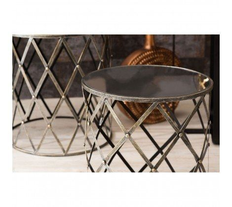 Avento Mirrored and Metal Diamond Set of 2 Tables