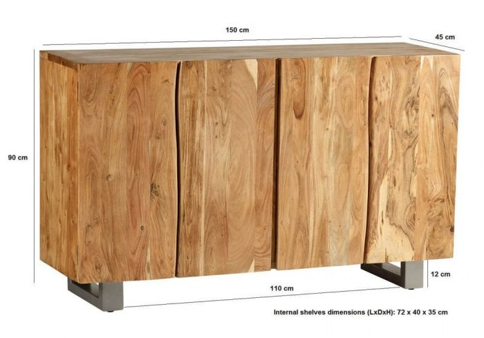 Baltic Mango Wood Large 4 Door Sideboard