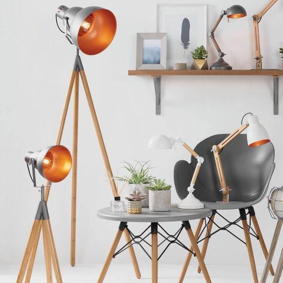 Bamboo & Grey Metal Tripod Film Table Lamp
