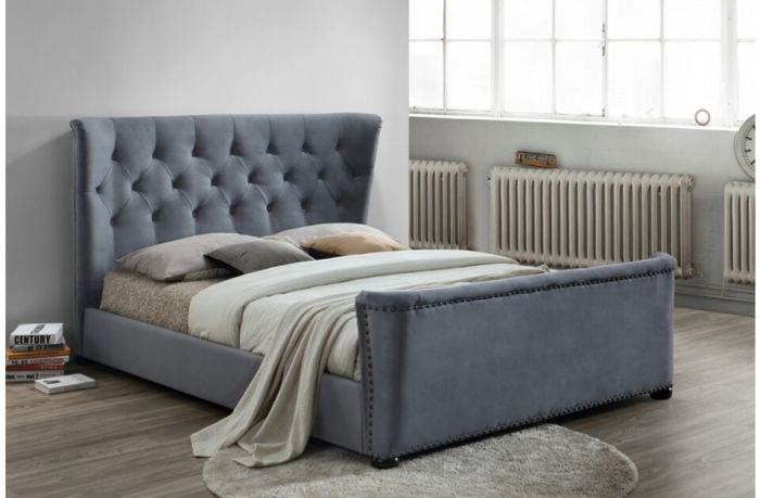 Barker Grey Velvet Double & King Size Bed Frames