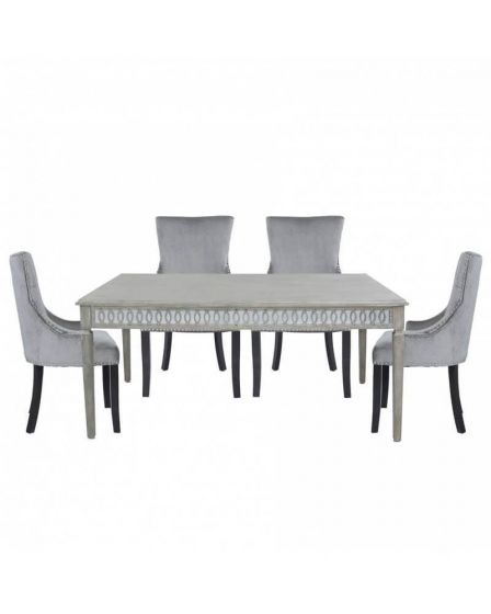 Beach Driftwood Style Dining Set with 6 Velvet Upholstered Chairs