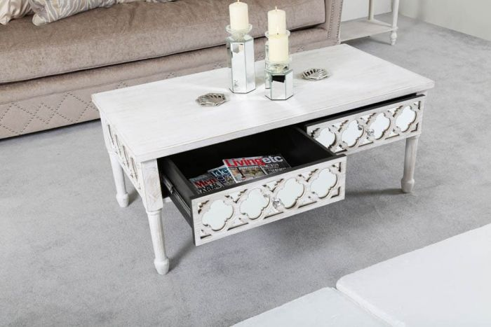 Beach Walk Mirrored 2 Drawer Coffee Table