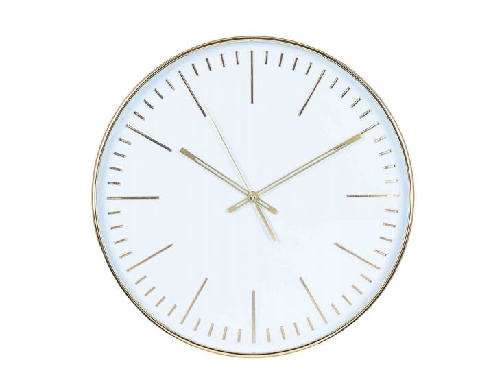 Bethany Gold & White Round Wall Clock
