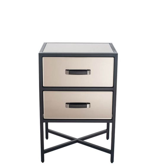 Black Metal and Bronze Glass 2 Drawer Bedside Chest