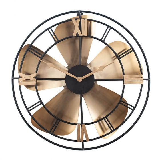Black and Rustic Brass Fan Design Wall Clock