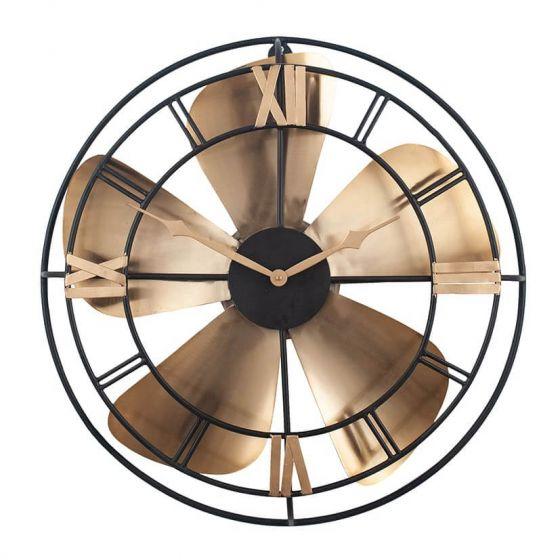 Black and Rustic Brass Fan Design Wall Clock