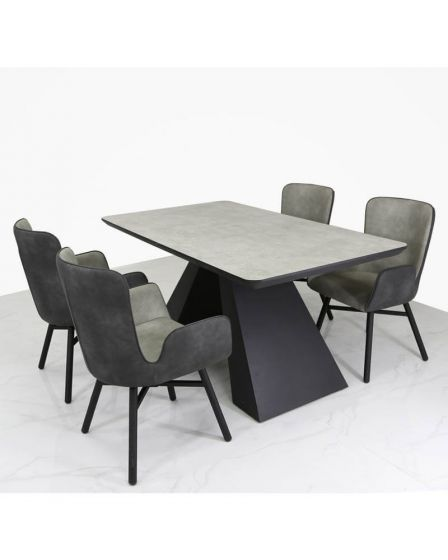 Black Golburn Wood Dining Set with 4 Grey Suede Effect Chairs
