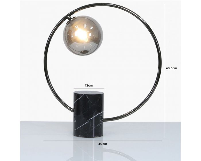 Black Marble and Black Metal Table Lamp With Smoked Glass Shade