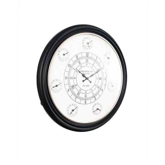 Black Multi Time Wall Clock