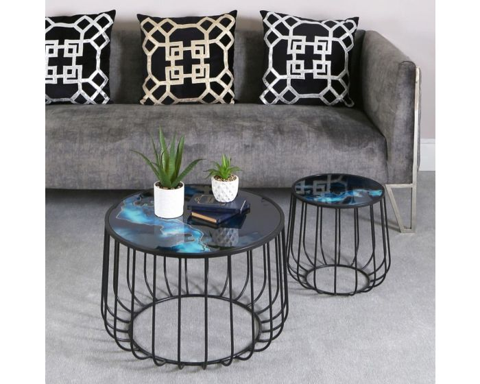 Blue Patterned Top Set Of 2 Nesting Tables
