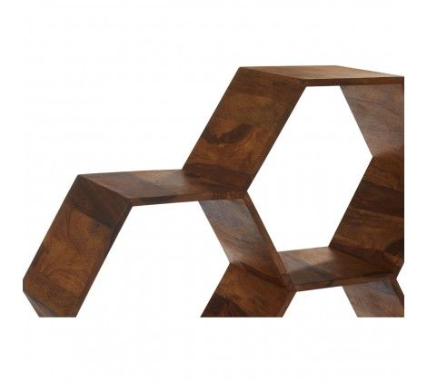 Bovo Sheesham Wood Hexagonal Bookshelf