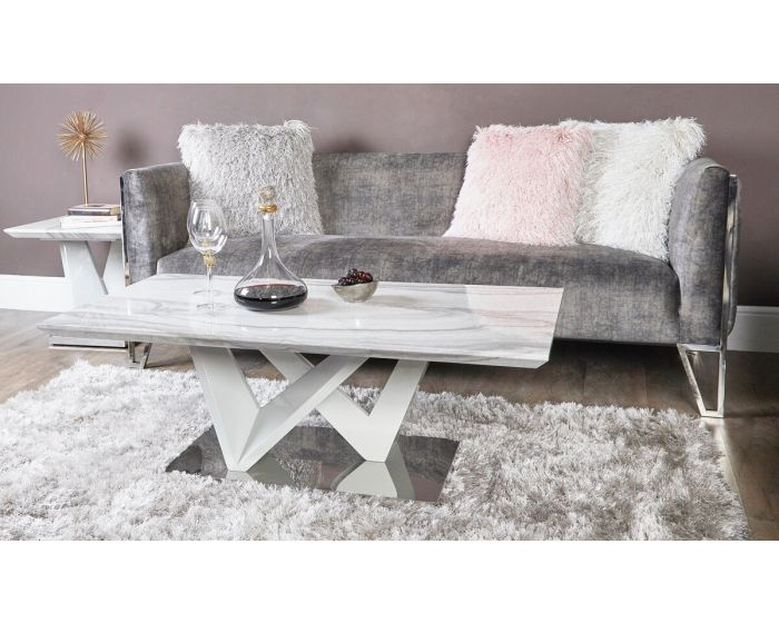 Caitlyn Marble Effect & Chrome Coffee Table