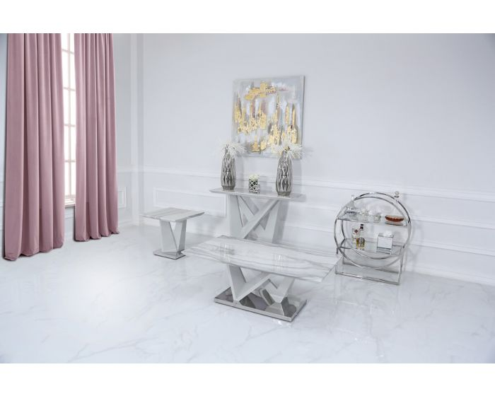 Caitlyn Marble Effect & Chrome Console Table
