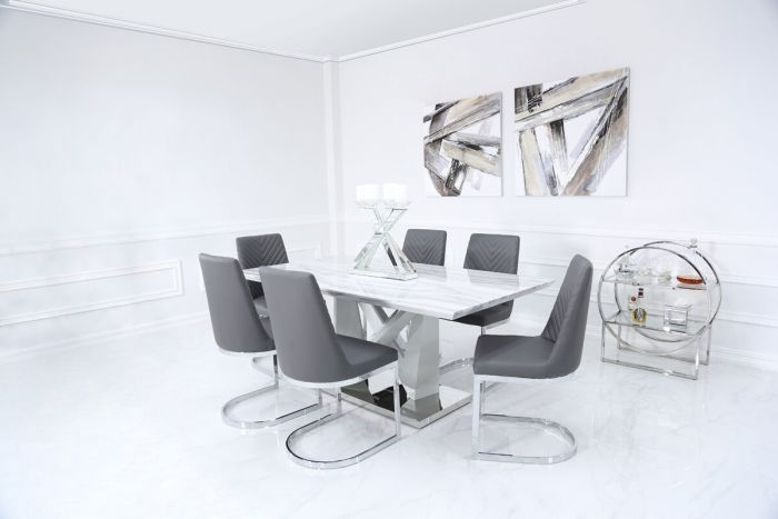 Caitlyn Marble Effect & Chrome Dining Set with 4 Chevron Chairs