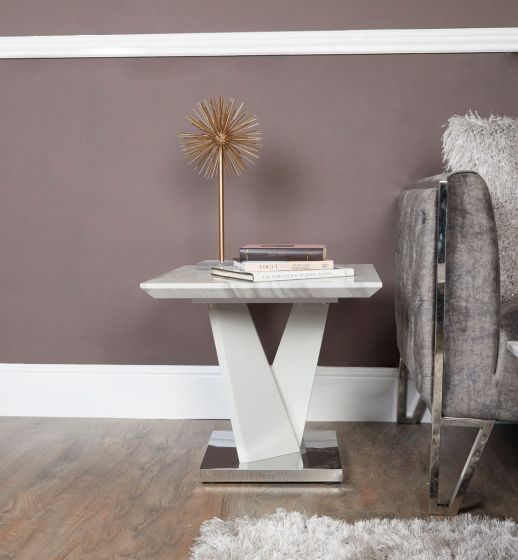 Caitlyn Marble Effect & Chrome End Table