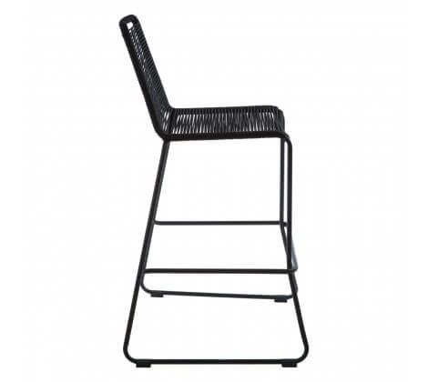 Cecil All Black Rope Bar Stool