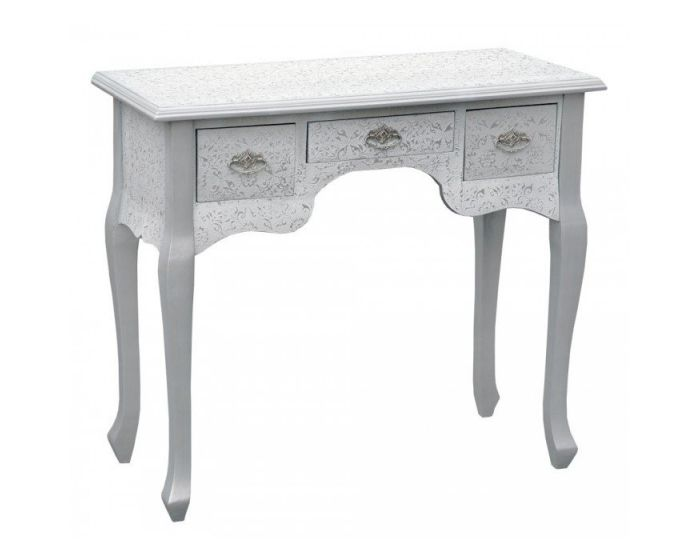 Chinese White/Silver Embossed 3 Drawer Console Table