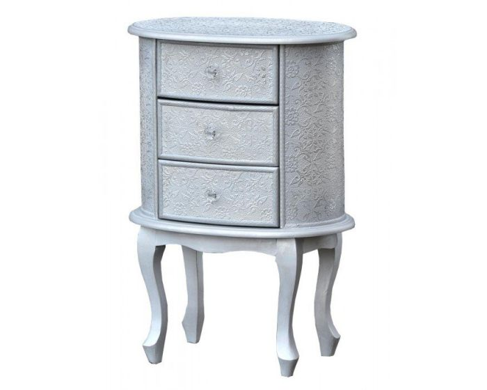 Chinese White/Silver Embossed Oval Bedside Chest