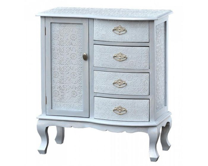 Chinese White/Silver Embossed Side Chest