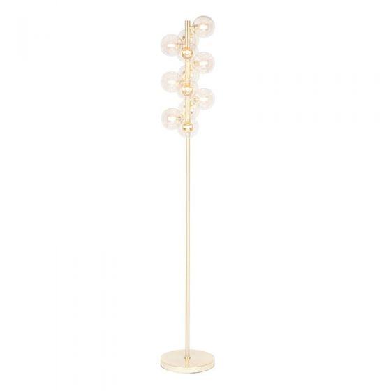 Champagne Metal Lustre Glass 12 Ball Floor Lamp
