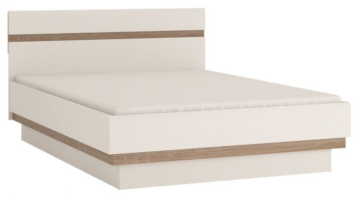 Chelsea Double Bed In White Gloss With An Oak Trim