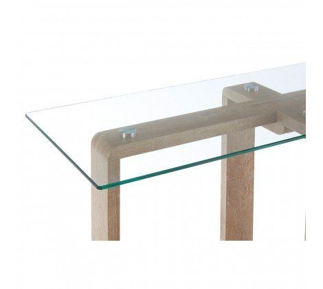 Chloe Glass and Brown Console Table