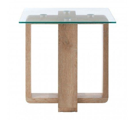 Chloe Glass and Brown Side Table
