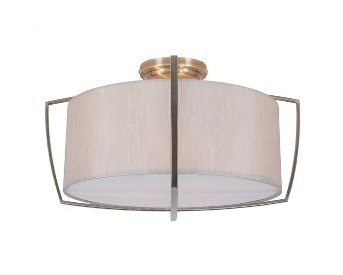 Chloe Silver Metal Frame and Grey Shade Flush Pendant