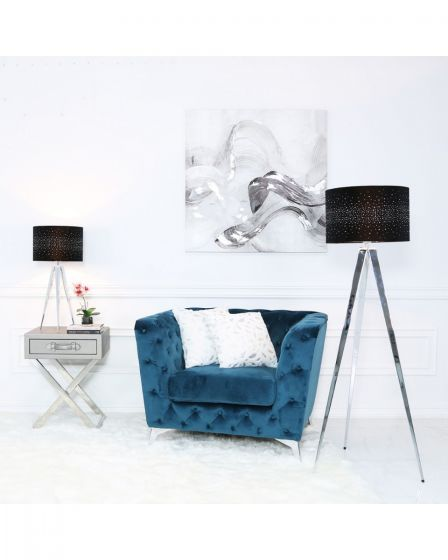Chrome Tripod Table Lamp With Black Velvet Sparkle Shade