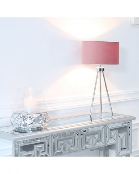 Chrome Tripod Table Lamp with Pink Velvet Shade
