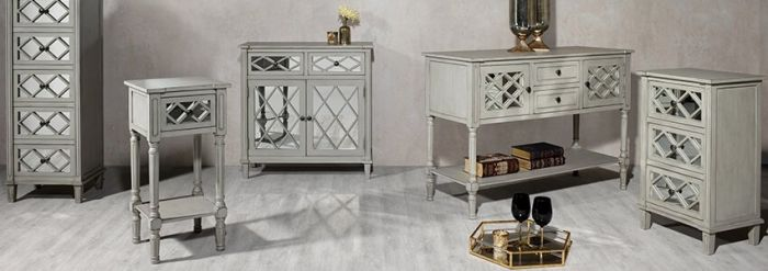 Clara Grey Mirrored Side Table