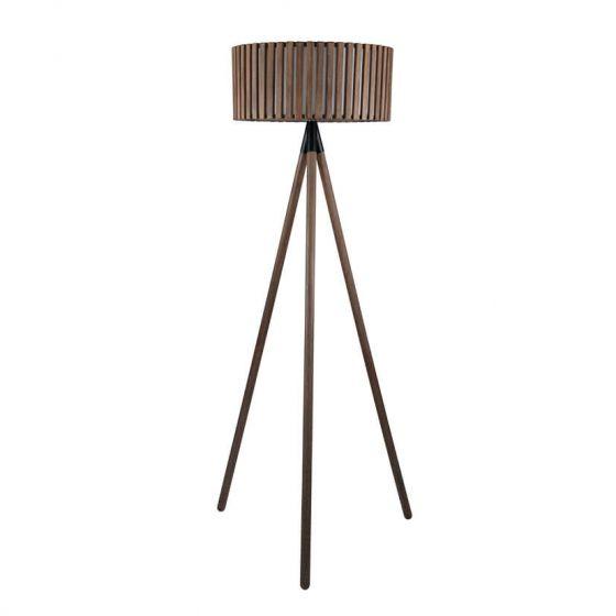 Clark Distressed Slatted Grey Wood Tripod Floor Lamp