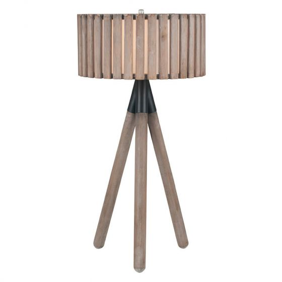 Clark Distressed Slatted Wood Tripod Table Lamp
