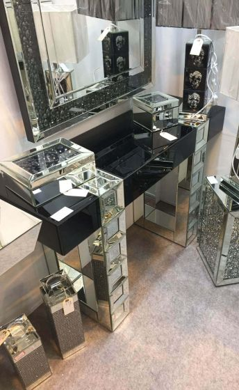 Clear and Black Mirrored Retro Console Stand