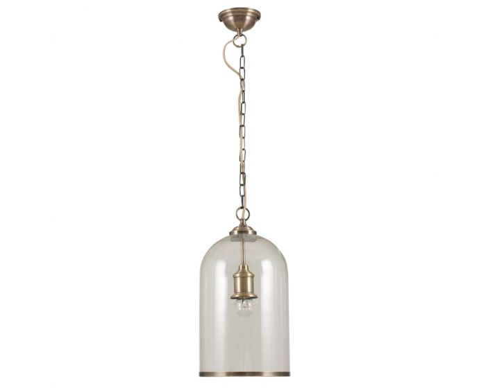 Clear Glass and Antique Brass Detail Pendant