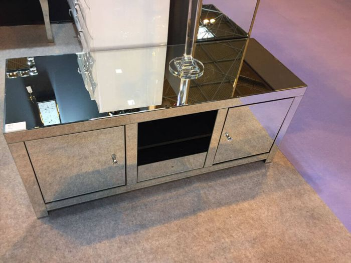 Clear Mirrored 2 Door 1 Drawer TV Unit