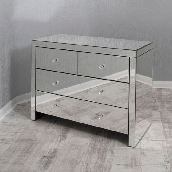 Clear Mirrored Chest of Drawers