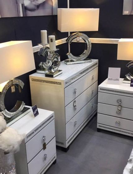 White Cleopatra Mirrored Bedside Cabinet