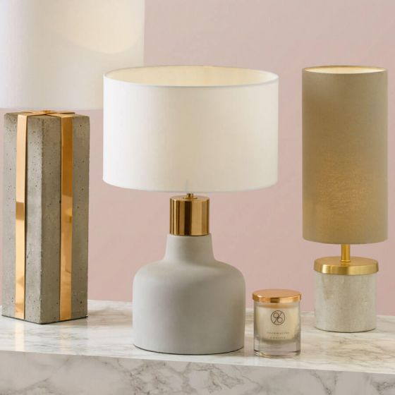 Marquis Concrete Table Lamp with Copper Trim