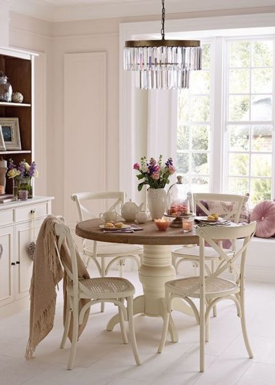 Cotswold Distressed White Round Dining Table