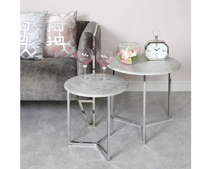 Concrete Effect Top Set Of 2 Chrome Side Tables