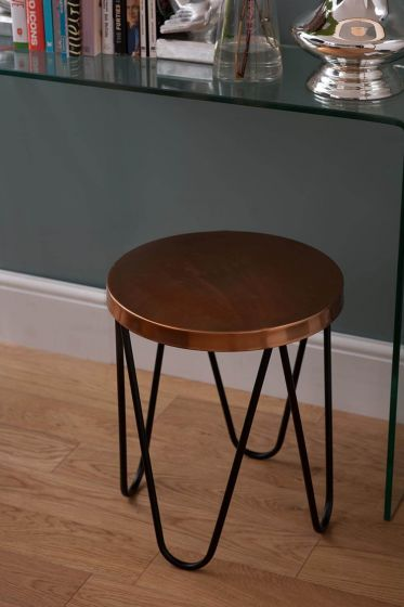 Copper Style Steel Round Side Table