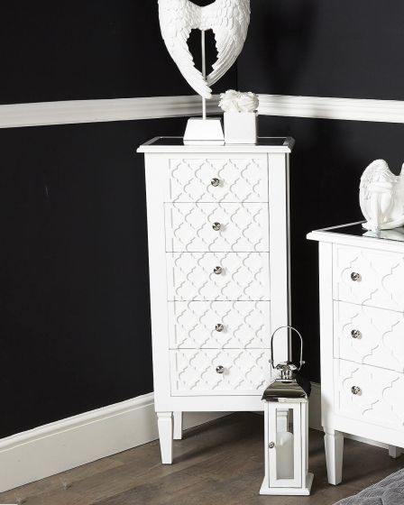 Costa White 5 Drawer Tallboy
