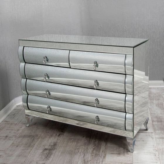 Curved Mirrored Chest of Drawers