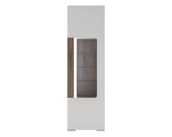 Designer Style White Narrow Glazed Cabinet